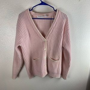 Liz Claiborn Wool Pink Sweater Cardigan Medium